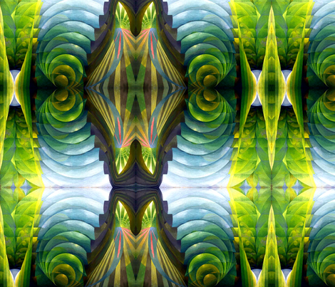 abstract green circles plants leaf leaves fabric by raveneve on Spoonflower - custom fabric