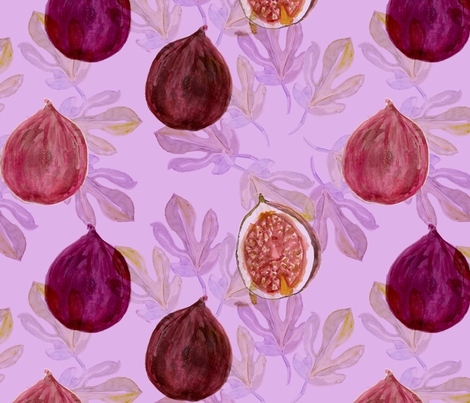 Watercolor Fig and Fig Leaf Harvest fabric by pixabo on Spoonflower - custom fabric