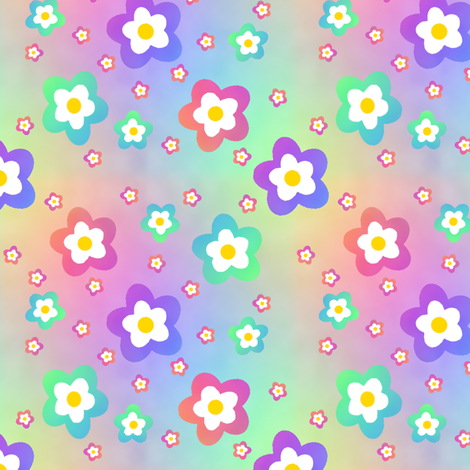 Rainbow Flower on Rainbow fabric by karwilbedesigns on Spoonflower - custom fabric