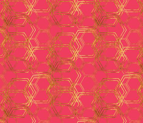 Hexagold Pink fabric by beththompsonart on Spoonflower - custom fabric