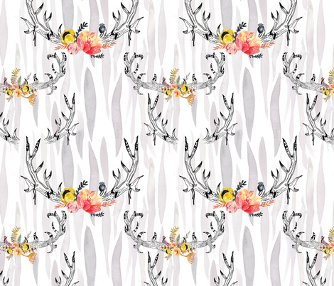 watercolor pattern of horns and flower  fabric by holaholga on Spoonflower - custom fabric