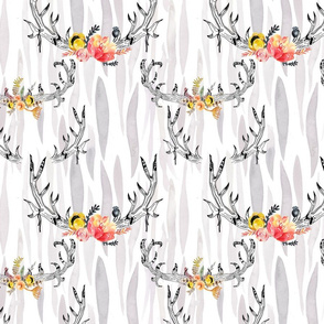watercolor pattern of horns and flower