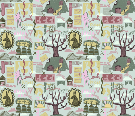 Rabbit Family Burrows. fabric by slumbermonkey on Spoonflower - custom fabric