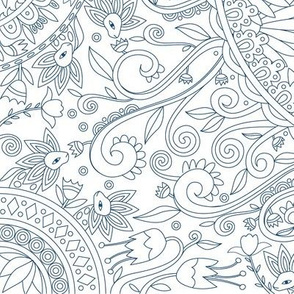 Forest and Flora Drawing, Dark Blue on White