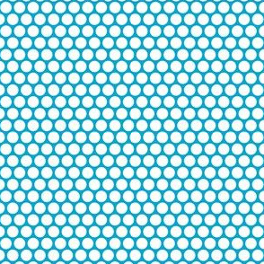White Honeycomb Dot on Turquoise