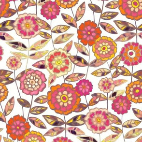 Sweet Seventies Floral in Orange, Pink and Peach