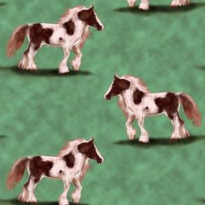 Gypsy Vanner Horse on mottled greens