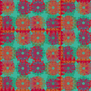 Winded Flowers Quilt Green Red Purple