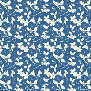 Stonecrop Floral, Cream on Blue
