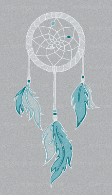 Dream Catchers - Sky - Teal, white on grey- textured