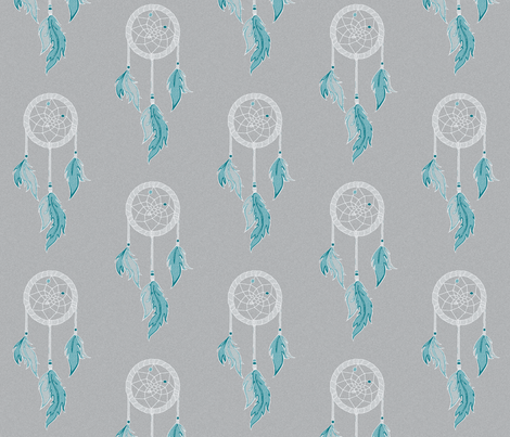 Dream Catchers - Sky - Teal, white on grey- textured fabric by sugarpinedesign on Spoonflower - custom fabric