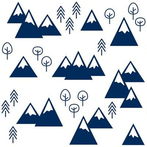 PNW - Mountains & Trees Navy on White