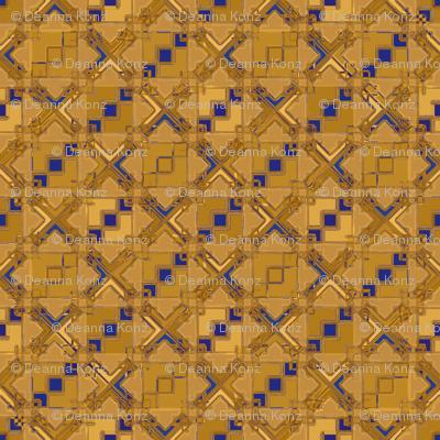 Diamond Tile Metallic Gold Blue/Purple