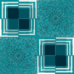 Geometric Glass Flower Aqua
