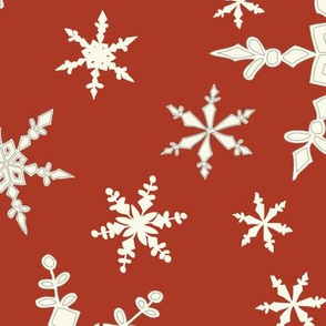 Snowflakes - Large - Ivory, Olde Red