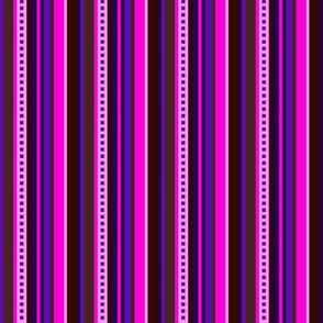 BN7 - Narrow Variegated Stripes in Pink - Purple - Burgundy - Maroon - Brown - Lengthwise