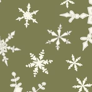 Snowflakes - Large -  Ivory, Sage