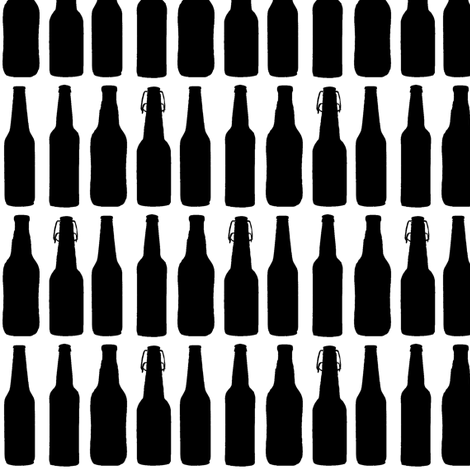 Beer Bottle Silhouettes on White - Medium fabric by thinlinetextiles on Spoonflower - custom fabric