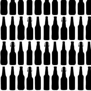 Beer Bottle Silhouettes on White - Medium