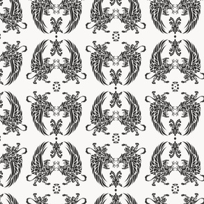 Griffin Damask black on light grey 2inch