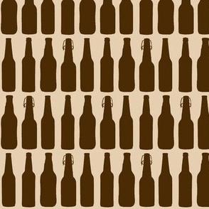 Brown Beer Bottle Silhouettes on Tan - Medium