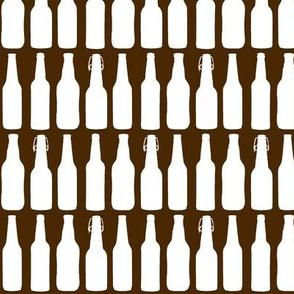 Beer Bottle Silhouettes on Brown - Medium