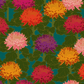 Cloisonné Chrysanthemums