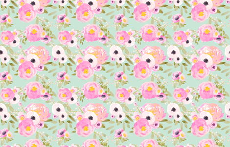 Indy Bloom Design Minted Florals fabric by indybloomdesign on Spoonflower - custom fabric