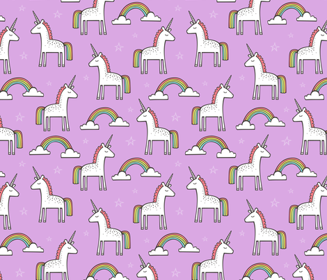 Cute Unicorn Rainbow in Purple fabric by caja_design on Spoonflower - custom fabric
