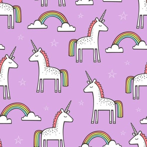 Cute Unicorn Rainbow in Purple
