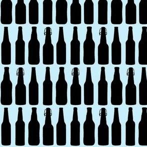 Beer Bottle Silhouettes on Light Blue - Medium
