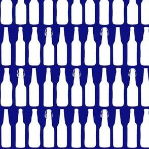 Beer Bottle Silhouettes on Dark Blue - Medium