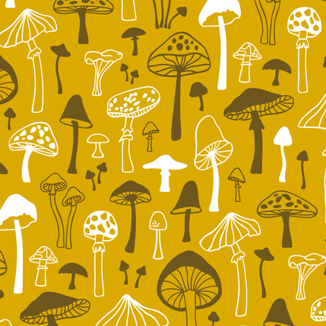 Mushrooms Fall Autumn Forest on Yellow fabric by caja_design on Spoonflower - custom fabric
