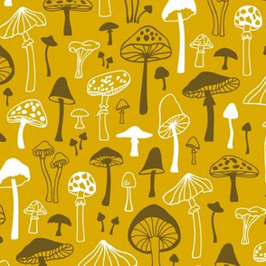 Mushrooms Fall Autumn Forest on Yellow