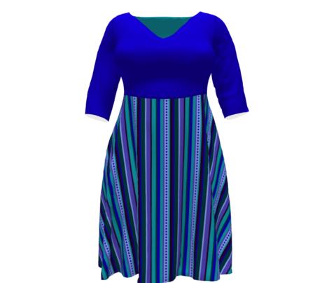 BN8  - Variegated Stripe in Blues - Teal - Purple - Lavender