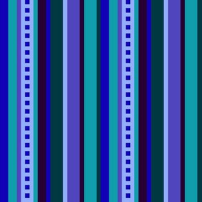 BN8  - Variegated Stripe in Blues - Teal - Purple - Lavender