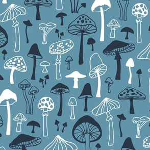 Mushrooms Fall Autumn Forest on Blue Navy