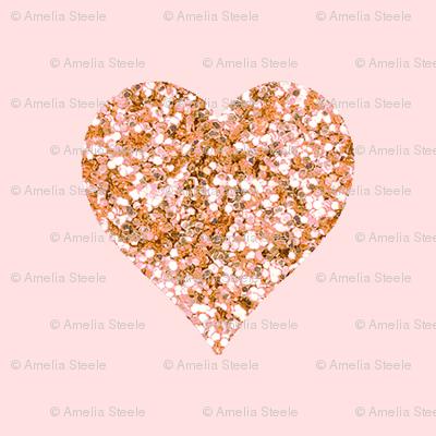 Rose Gold Glitter Hearts Blush Fabric