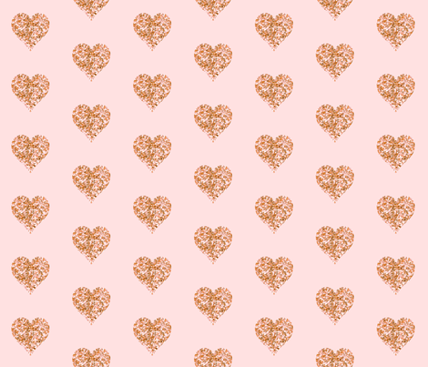 Rose Gold Glitter Hearts  // Blush fabric by willowlanetextiles on Spoonflower - custom fabric