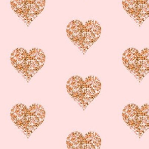 Rose Gold Glitter Hearts  // Blush