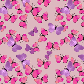 Pink and Purple Butterflies Dollhouse Wallpaper