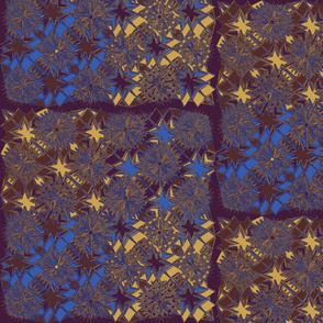 Starburst Metallic Blue Gold Purple Brown