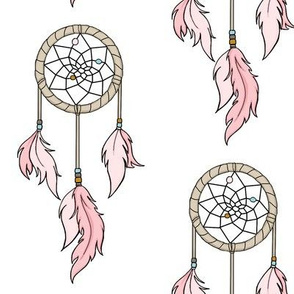 Dream Catchers - Pink on White