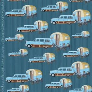 Campers and Cars in small print in retro design by Salzanos