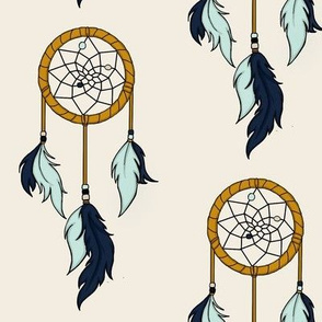 Dream Catchers Large- navy,mint, gold on cream
