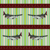 Snag Those Spoonbills - on Tropical Stripe Background - Small
