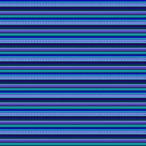 BN8 - Narrow Variegated Stripes in Blues - Teal - Purple - Lavender - Crosswise