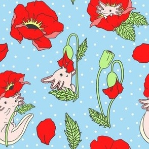 Axolotl with Poppies