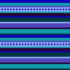 BN8 - Horizontal Stripe - Variegated Blue, purple and teal