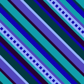 BN8 - Large Scale Diagonal  Stripe Slant to the Right - Variegated Blues, Teal and Purple